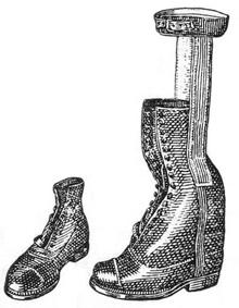 Ортопедическая обувь. Ботинок с металлическими шинками при параличе стопы.